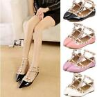 Womens T-strap Studded Flats Pointed Toe Shoes Single Sandals Shoes Newest Pop