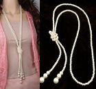 Fashion White Artificial Pearls Long Sweater Chain Charm Necklace women Jewelry