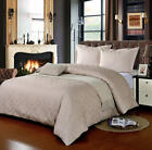 100% Egyptian Cotton 500 Thread Count Damask Stone Jacquard Duvet Cover Bed Set
