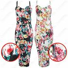 LADIES STRAPPY TROPICAL FLORAL NYC PRINT KNEE LENGTH WOMENS BODYCON MIDI DRESS