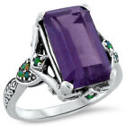 6.5 CT. COLOR CHANGING LAB ALEXANDRITE OPAL ANTIQUE DESIGN .925 SILVER RING,#303