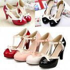 Summer Fashion Women's Bowtie T-Strap Mary Janes Dress High Heels Cut Out Shoes