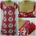EX WHITE STUFF CAROLINA TUNIC TOP SHIFT SUMMER RED IVORY BLUE TEAL FLORAL 8 - 18