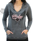 Harley-Davidson Script Womens Lightweight Split Seam Burnout Charcoal Hoodie