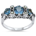 SIM AQUAMARINE PEARL ANTIQUE VICTORIAN STYLE .925 STERLING SILVER RING,      #187