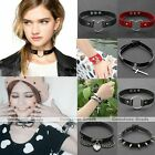 Punk Goth Genuine Leather Rivet Heart Ring Chain Collar Choker Necklace Bracelet