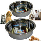 METAL DOG BOWL ANTI SKID EMBOSSED FEED STATION PAW BONE DESIGN STAINLESS STEEL