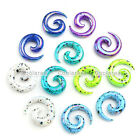 """12x 12g-1/2"""" Mix Color Acrylic Snail Spiral Horn Taper Ear Plug Expander Earring"""