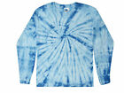 Light Blue Long Sleeve Tie Dye T-Shirt Adult S M L XL XXL XXXL 100% Cotton Hanes