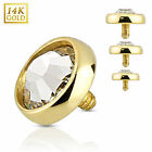 14K Yellow Gold Dermal Anchor Flat Dome Top with Clear CZ Internally Threaded