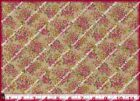 Classic Cottons PINK ROSES on TEA STAIN Floral Cotton Quilting Fabric 3 yds