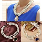 Vintage Multilayer Round Faux Pearl Bead Chain Crystal  Gemstone Choker Necklace