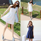 Korean Style Womens Slim Waisted Sleeveless Cotton Mini Dress White Dark Blue