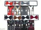 Leather Clip-on Suspenders and BOW TIE Matching Color Elastic Adju