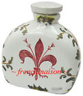 Italian FLORENCE FLAG Fleur de Lys Bath JAR BOTTLE Handmade Painted Ceramic New