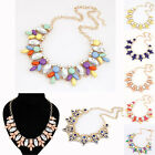 VINTAGE WOMEN CHARM CRYSTAL JEWELRY CHUNKY PENDANT PARTY STATEMENT BIB  NECKLACE