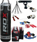 RDX 9 Piece Boxing Set 5FT 4FT Filled Heavy Punch Bag,Gloves Bracket MMA Stand B
