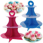 PINK BLUE FANCY CAKE CUPCAKE 3 TIER STAND PARTY WEDDING KIDS DESSERT DECORATING
