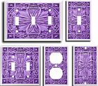 IMAGE OF FLORAL TILE PURPLE LAVENDER LIGHT SWITCH COVER PLATE U PICK PLATE SIZE