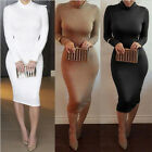 Sexy Womens High-necked long Sleeve Bodycon skirt  Cocktail Dress Evening Party
