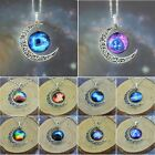 Vogue Dreamcatcher Galactic Glass Cabochon Silver-Tone Crescent Moon Necklace