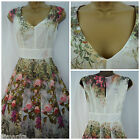 NEW LAURA ASHLEY DRESS PROM PARTY VTG 50'S RETRO FLORAL ROSE PINK IVORY 8 - 20
