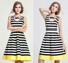 Lady Sexy Striped Sleeveless Evening Party Cocktail Casual Slim Mini Dress LA