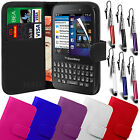 Pu Leather Wallet Case Cover, LCD Film & Retractable Stylus For Blackberry Q5