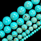 "Blue Turquoise Round Beads 15.5"" 4 6 8 10 12 14mm Pick Size"