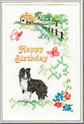 Border Collie Birthday Card Embroidered by Dogmania - FREE PERSONALISATION