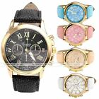 Fashion Business Men Women Roman Numeral Quartz Analog Leather Wrist Watch Gold