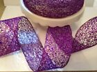 Glitzy Purple Glittery Fret Mesh Web Net Christmas - Luxury Wire Edged Ribbon