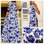 Womens Blue and White Floral Print Summer Ladies Elegant Party Maxi Dress