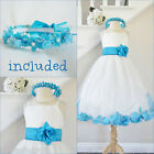 Cute Ivory/turquoise blue rose petals flower girl dress FREE HEADPIECE all sizes