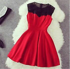 Womens Lovely Black&Red Lace Sleeveless Evening Party Mini Cocktail Dress