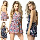 Sexy V Neck Floral Backless Culottes Beach Jumpsuit Playsuits Short Dress Pants