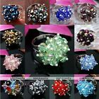 Womens Faceted Crystal Glass Beads Flower Party Finger Ring Gift Adjustable US6