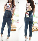 Korean New Women Denim Pants Fshion Loose Hole Overalls fashion