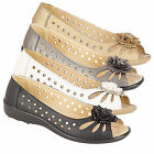 Ladies Womens Girls Punched Open Toe Flower Comfort Lightweight Casual Shoes