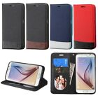 For Samsung Galaxy S6 PU Leather Credit Card Slot Wallet Stand Flip Cover Case