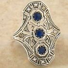 GENUINE SAPPHIRE & PEARL .925 STERLING VINTAGE ART DECO STYLE SILVER RING,  #754