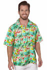 Benny's Mens Flamingos Hawaiian Shirt, Sage