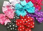 1 x POLKA DOT HAIR BOW with Clip - APPROX. 3 INCHES WIDE - UK - CHOOSE COLOUR