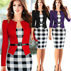 Womens Retro Business Wear To Work Party Cocktail Bodycon Pencil Dress Plus Size