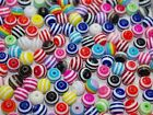 100Pcs Multicolor zebra stripe round resin Loose beads spacer charms 8mm DF691A