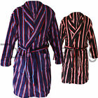 Mens Soft Fleece Dressing Gown Warm Robe Bathrobe Striped bz