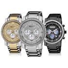 Akribos XXIV Men's Large Dial Diamonds Bling Quartz Chronograph Bracelet Watch