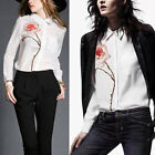 New Fashion Women Ladies Casual White Long Sleeve Rose Print Blouse Shirt Tops