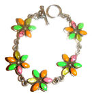 TAXCO .950 Sterling Silver Link Bracelet With Multistones Inlays from Mexico