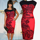 Womens Sexy Flower Print Sleeveless Bodycon Pencil Party Evening Dress Size 8-16